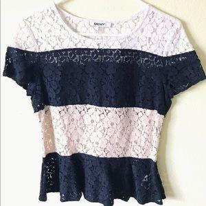 Black/White/Cream Lace Top (S)